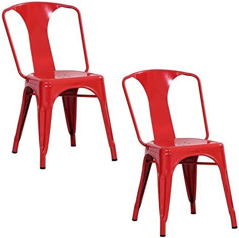 Amerihome Metal Dining Chair, Red, Set of 2