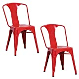 AmeriHome Metal Dining Chair, Red, Set of 2