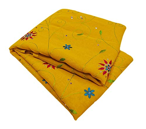Peegli Ethnic Women Saree Yellow Traditional Wear Embroidered Bollywood Designer Dress Indian Vintage Sari Georgette Blend Home Décor DIY Craft Fabric 5 Yd