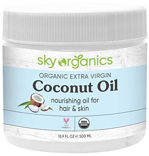 Organic Extra Virgin Coconut Oil by Sky Organics (16.9 oz) USDA Organic Coconut Oil Cold-Pressed Kosher Cruelty-Free…