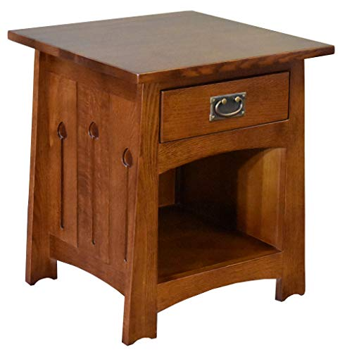 Crafters and Weavers Mission Style Solid Quarter Sawn Oak Keyhole End Table - Model A28 (Furniture Amish Weavers)