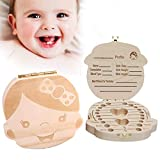 Glucktrade Kids Baby Tooth Box Wooden Baby Keepsake Box,Cute Children Tooth Fairy Box Tooth Holder Container,Baby Teeth Save Box Organizer Child Tooth Storage with Tweezers to Keep the Childwood Memory (girl)