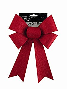 Large Red Glitter Gift Bow Ideal Christmas Decorations Wrapping ...