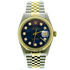 Best Epic Trends 41kCwvrDsPL._SS300_ Rolex Mens Datejust Model 16013 36mm Steel & 18k Gold Watch Custom Added Blue Diamond Dial (Certified Preowned)