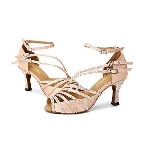 TTdancewear Frauen Strass Latin Salsa Performance Tanzschuhe Ballroom Dance Schuhe Nude-2,5inch Heels