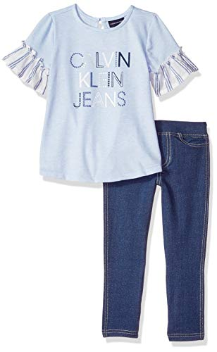 (Calvin Klein Girls' Little 2 Pieces Legging Set Pants, Blue/Dark wash, 6)