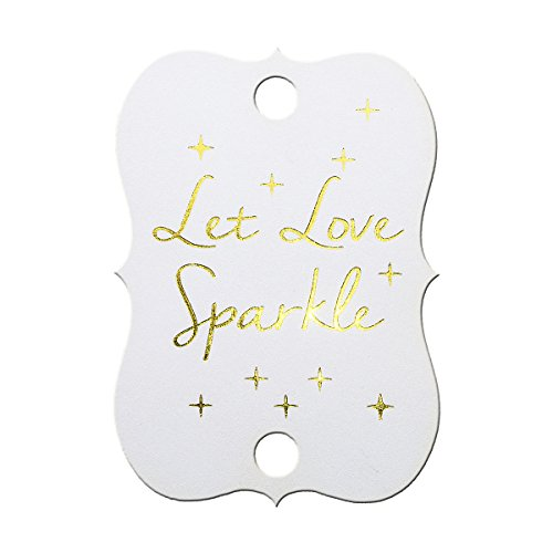Summer-Ray 50 Pure White Gold Foil Hot Stamping Little Violin Wedding Sparkler Tags Let Love Sparkle by Summer-Ray.com