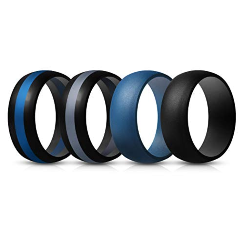 ThunderFit Mens Silicone Rings Wedding Bands – 4 Pack (Dark Blue, Black Middle Dark Blue, Black Middle Dark Grey, Black, 9.5-10 (19.8mm))