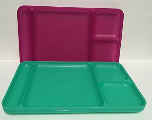 Tupperware Divided Dining TV Trays Picnic Kids Lunch Plates Set of 4 Pink Green (Tupperware Kids Trays)