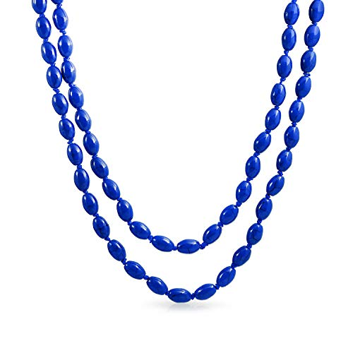 - Royal Blue Long Knotted Layer Oval 8MM Layer Simulated Lapis Bead Strand Necklace for Women 46 Inch