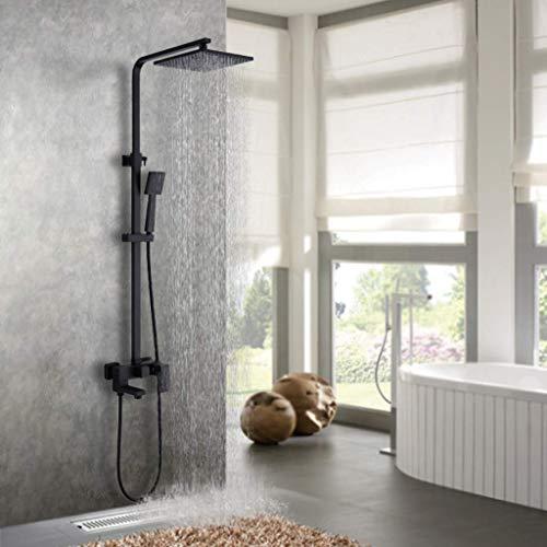 GWFVA Bathroom Shower Mixer Set,Shower Set, Hand Shower, Triple Function Oversized Square Shower, Rainshower, Matte Water Black Luxurious ()