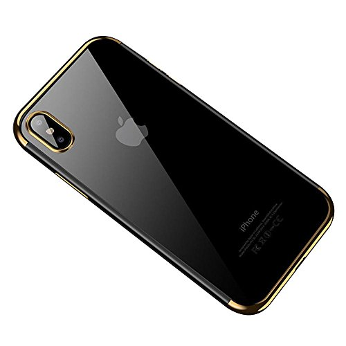 HONTECH Compatible iPhone Xs Max 2018 Case, Ultra-Thin Clear Soft TPU Plating Shockproof Protective Cover 6.5 inch, Gold