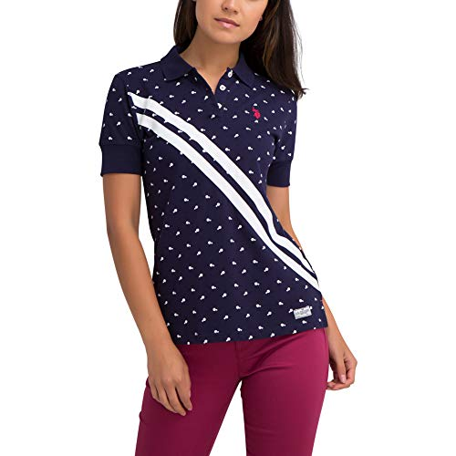 U.S. Polo Assn. Womens Printed Poka Dot Pique Polo Shirt with Prep Sash Print - Evening Blue, Extra Small