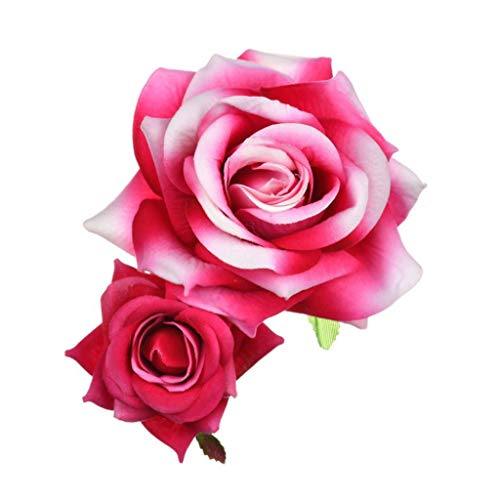 dezirZJjx Artificial Plants, Fake Flowers Fashion Women Faux Rose Hair Clip Hairpin Headwear Wedding Party Accessories - Rose Red