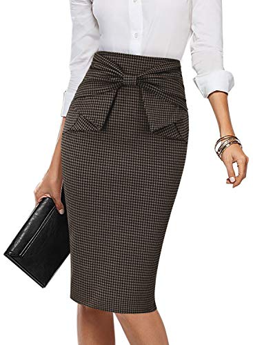 - VFSHOW Womens Brown and Black Houndstooth Pleated Bow High Waist Slim Work Office Business Pencil Skirt 2167 HTH 3XL