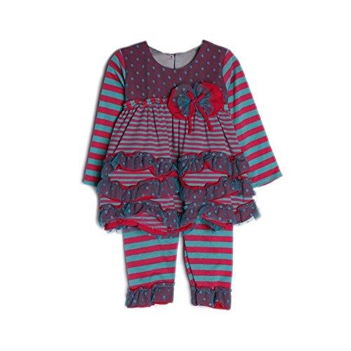 Chloe Women Pants (Isobella & Chloe Baby Girls Magenta Striped Ruffle Taffy Twist 2 Pcs Outfit 3M)