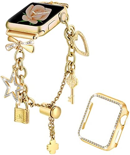 Dilando Bling Bracelet Compatible with Apple Watch Bands Charms 42mm 44mm with Bling Diamond Case Women Metal Strap for Iwatch Series SE 6 5 4 3 2 1 Adjustable Stainless Steel Gold 44mm