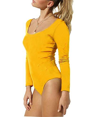 GEMBERA Women's Long Sleeve Scoop Neck Low Back Basic Cotton Bodysuit Leotard (Long Sleeve Yellow, XL) -