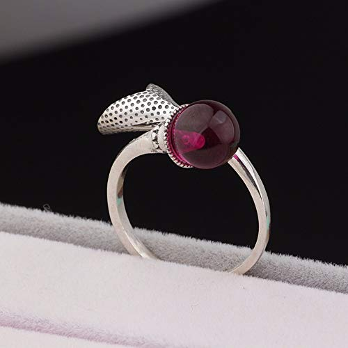 Vintage S925 Silver Ring Women's Simple Opening Calla Lily Red Fused Alumina Ball Fashion Creative Gift Personality Trend