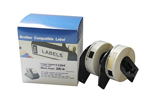 2 Rolls IDIK-11204 Multi-Purpose Label Compatible with Brother DK-1204 Return Address Label 17mm x 54mm x 400pcs/roll Packed in Individual Printed Retail Box with Permanent Cartridge