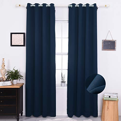 Nauxcen 84 Inch Blackout Curtains, Navy Blackout Curtains for Bedroom/Living Room/Women, Grommet Thermal Insulated Curtains/Drapes(2 Panels,50 x 84)