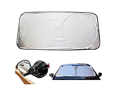 "59"" x 27"" Car Folding Windshield Sun Shade Black / Silver Nylon Block UV Rays Sun Protection"