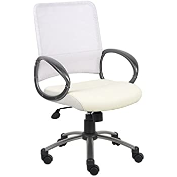Boss Office Products B6406-WT Mesh Back Task Chair with Pewter Finish in White
