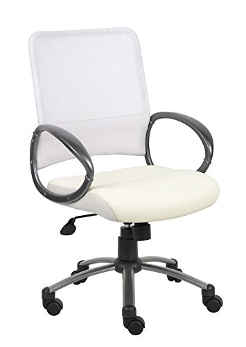 Boss Office Products B6406-WT Mesh Back Task Chair with Pewter Finish in (Loop White High Chair)