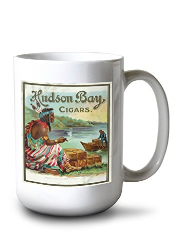 Lantern Press Hudson Bay Brand Cigar Outer Box - Vintage Label (15oz White Ceramic Mug)