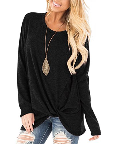 AELSON Womens Casual Long Sleeve Shirt Knot Side Twist Knit Tunic Tops Blouses