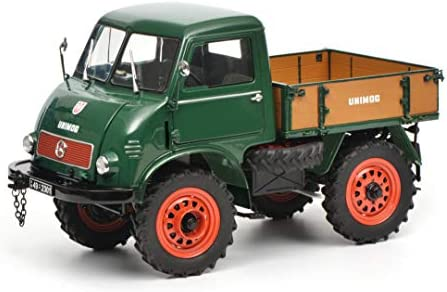 Schuco 450016700 450016700-Mercedes Benz Unimog 401, Modellauto, 1:18, grün Modellfahrzeug