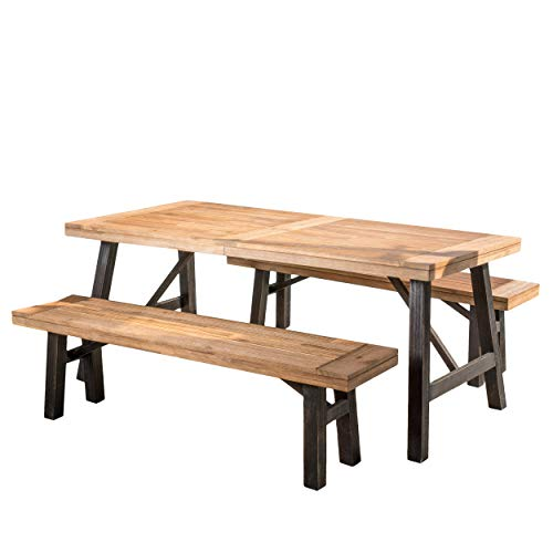 Christopher Knight Home Great Deal Furniture Valverde | 3 Piece Wood Outdoor Picnic Dining Set | Perfect for Patio | with Teak -