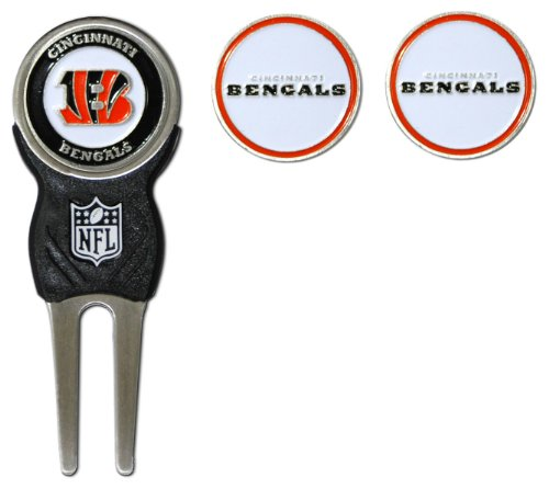 Team Golf NFL Cincinnati Bengals Divot Tool with 3 Golf Ball Markers Pack, Markers are Removable Magnetic Double-Sided Enamel