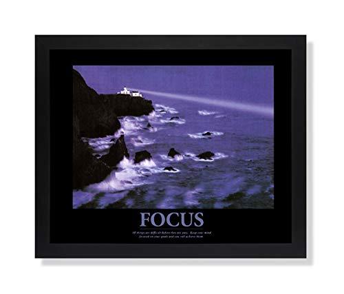 Focus Motivational Ocean Lighthouse Picture Black Framed Art Print
