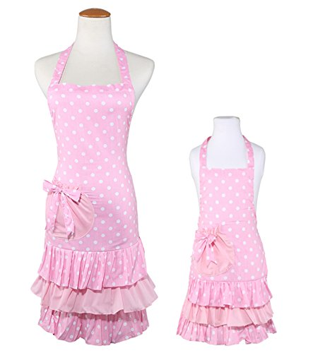 - Huachnet Cotton Canvas Parent-Child Apron Cooking or Baking Apron with Pockets Great Helper in Daily Life (Mom-Child Set)-Pink Flower