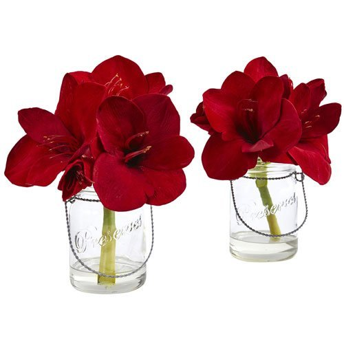 Amaryllis Vase - Nearly Natural 4547-S2 Amaryllis in Glass Vase (Set of 2)