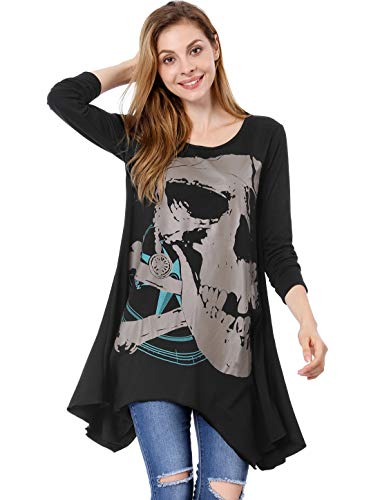 Allegra K Ladies Long Sleeve Skull T Shirts Casual Loose High Low Tops L ()