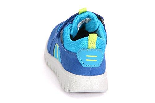 SuperFit 0-00190-85 Kinder Halbschuh Buben WMS Weite Mittel Velour Textil Blau (Bluet kombi), 27 EU