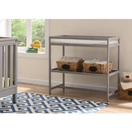 Delta Children Nursery Side Table Designed for Effortless Dressings and Diaper Changes, Grey