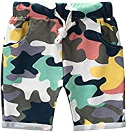 Bebogo Toddler Boys Colorful Camo Shorts Kids Little Boys Summer Drawstring Camouflage Knee Length Shorts Casu