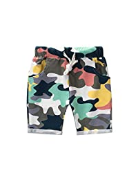 Bebogo Toddler Boys Colorful Camo Shorts Kids Little Boys Summer Drawstring Camouflage Knee Length Shorts Casual Short Pants
