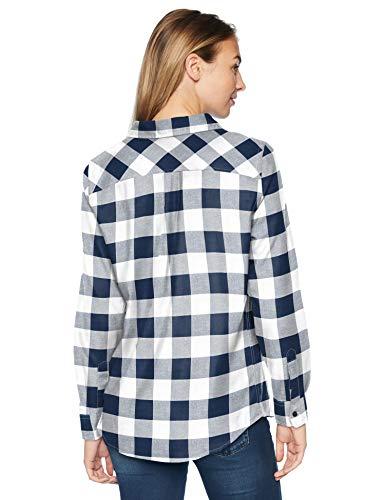 Larga Classic Azul Plaid Lightweight Buffalo navy Amazon Camisa Mujer Para Shirt fit De Essentials Flannel Long sleeve Plaid Manga tqtUwZ7