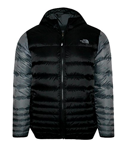 Reversible Snap Zip Jacket - THE NORTH FACE youth boys REESE DOWN REVERSIBLE hooded JACKET Tnf Black/Grey (S 7/8)
