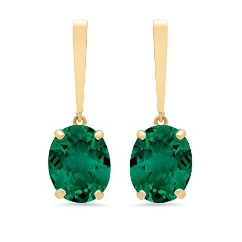 14k Yellow Gold Solitaire Oval-Cut Created Emerald Drop Earrings (10x8mm)