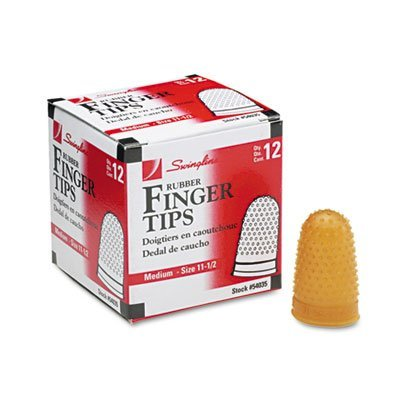 Swingline Products - Swingline - Rubber Finger Tips, Size 11 1/2, Medium, Amber, 12/Pack - Sold As 1 Dozen - Tough, high quality tips last a long time. - Surface nubs ensure positive grip. - Extra thick material at tip for longer wear. - High grade rubber by Swingline