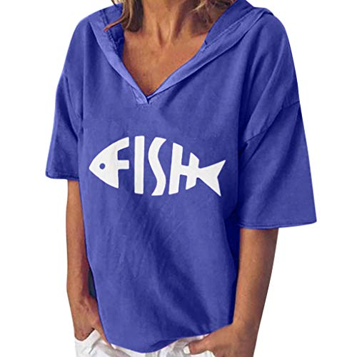 〓COOlCCI〓Women Tees & Blouses, Summer Tops for Women Short Sleeve V Neck Fish Bones Print Casual Loose Tunic Top Blue