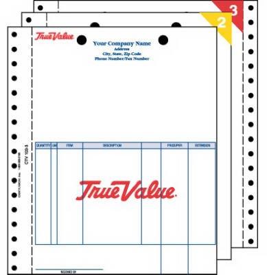 Centurion CTV 103-3 3-Part Carbonless Tru-Trac Retail Invoice - 1000 Pack