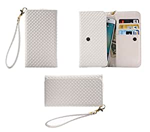 DFV mobile - Cover Premium Case with Design Pearl Grid Texture with Card Slots & Lanyard for => HTC Desire 620G > White