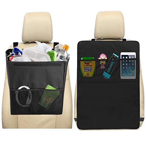 lebogner Car Trash Can + Kick Mat Seat Back Protector with 3 Organizer Pockets for Storage, Kick Guard Seat Saver, X-Large 100% Leakproof Car Garbage Bin, Perfect for Car Seat Headrest Or Car Floor