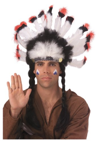 Rubie's Costume Deluxe Native American Headdress, White, One Size